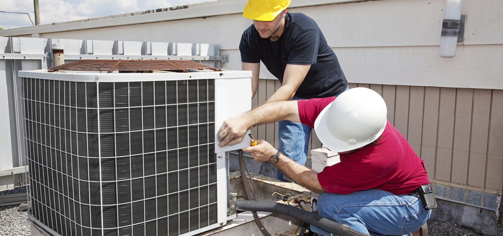 men repair ac unit